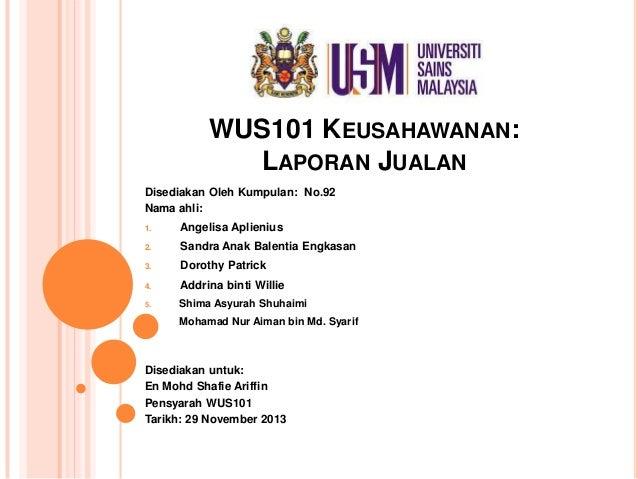 Laporan Jualan Wus101