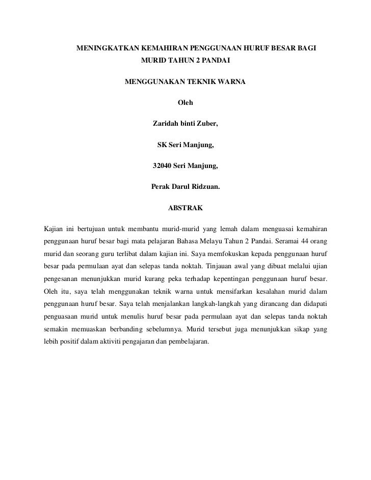Laporan Kajian Tindakan Bahasa Melayu