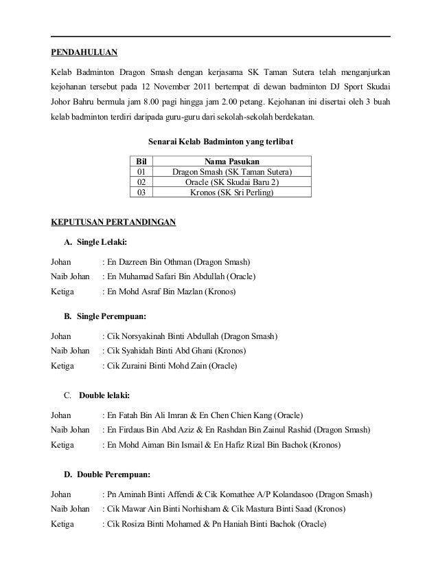 Kokurikulum Tajuk Laporan Kejohanan Tugasan Kumpulan Sem 2 Uthm