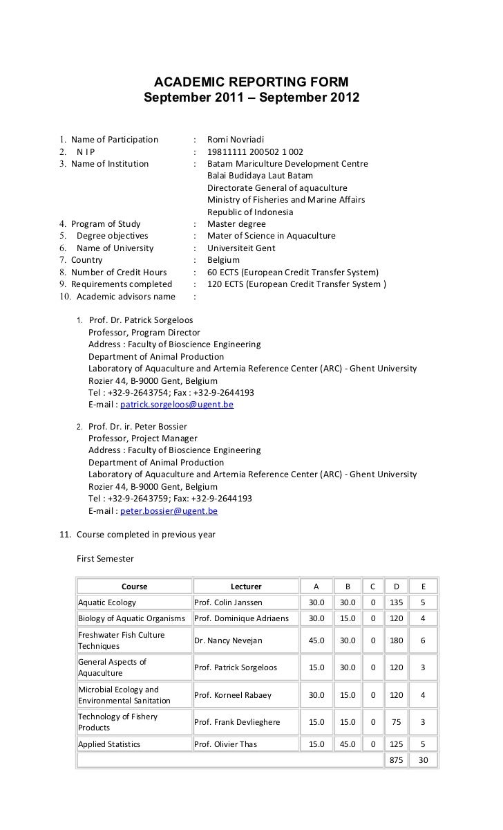 ACADEMIC REPORTING FORM                         September 2011 – September 20121. Name of Participation             :   Ro...