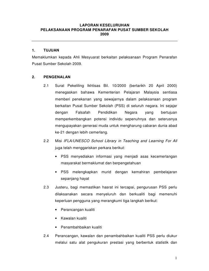 Laporan Penarafan Pusat Sumber Sekolah 2009 Melalui Iq Pss