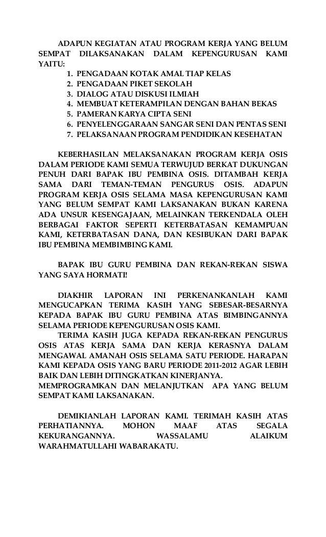 Laporan Ketua Osis Smpn 1 Pasimarannu 2009 2010