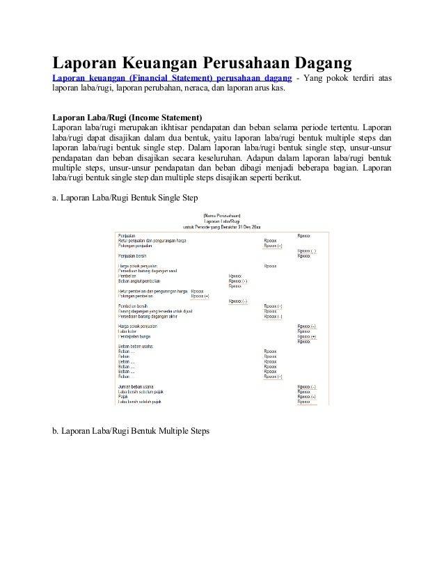 Laporan Keuangan Perusahaan Dagang Laporan keuangan (Financial Statement) perusahaan dagang - Yang pokok terdiri atas lapo...