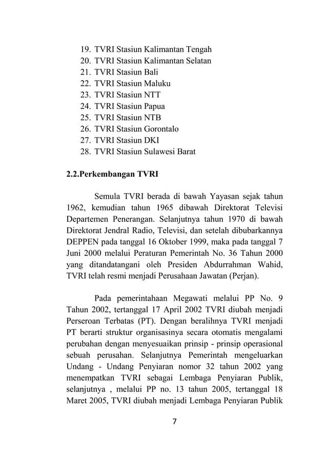 7 19. TVRI Stasiun Kalimantan Tengah 20. TVRI Stasiun Kalimantan Selatan 21. TVRI Stasiun Bali 22. TVRI Stasiun Maluku 23....