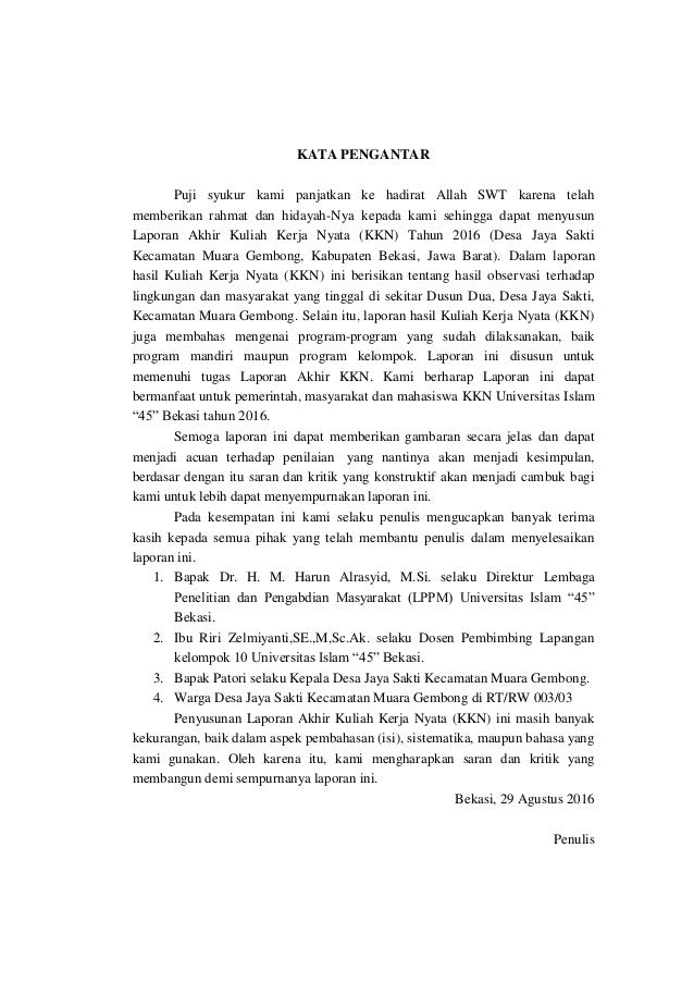 Laporan Kkn Desa Jayasakti Universitas Islam 45 Bekasi