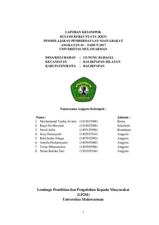 Laporan Kkn Universitas Mulawarman 43 Tahun 2017