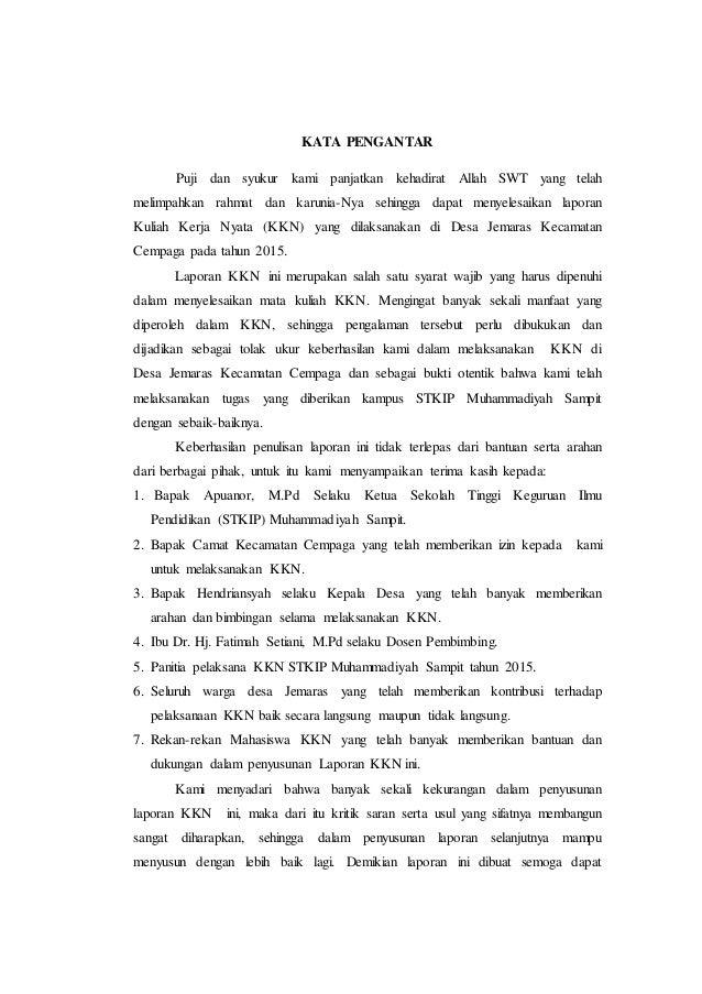 Laporan Kkn Stkip Muhammadiyah Sampit Tahun 2015