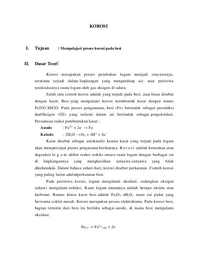 Praktikum Kimia Laporan Korosi
