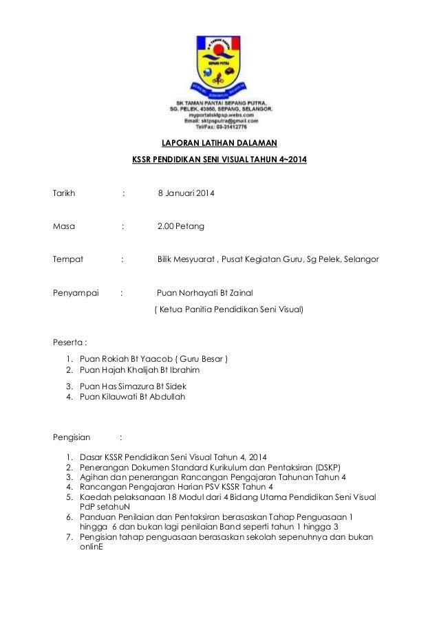 Contoh Laporan Latihan Dalaman Psv 01 2014