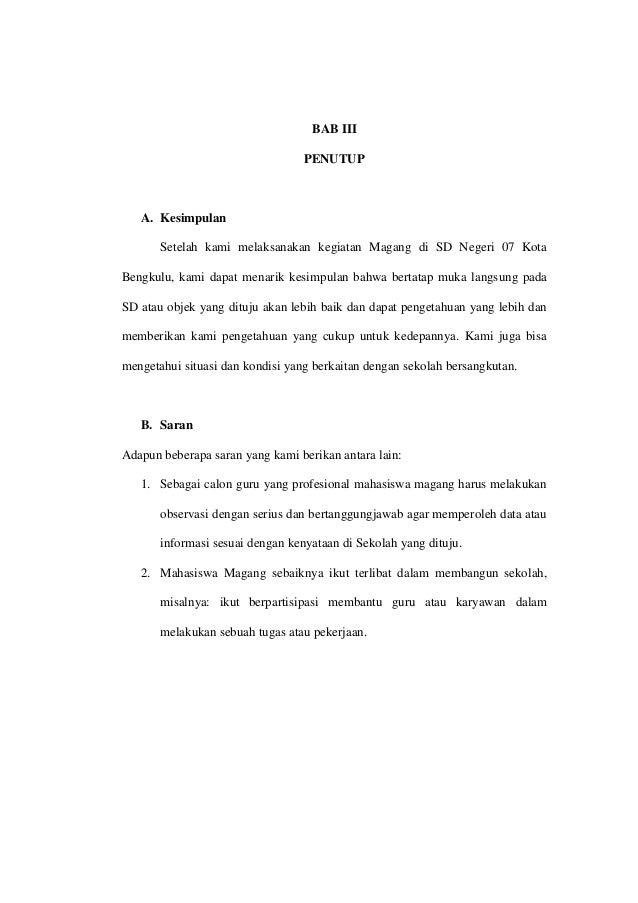 Laporan Magang I Di Sd Negeri 07 Kota Bengkulu