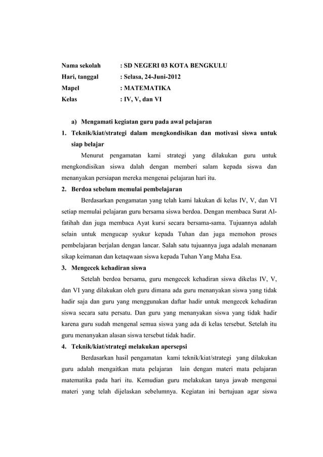 Nama sekolah  : SD NEGERI 03 KOTA BENGKULU  Hari, tanggal  : Selasa, 24-Juni-2012  Mapel  : MATEMATIKA  Kelas  : IV, V, da...