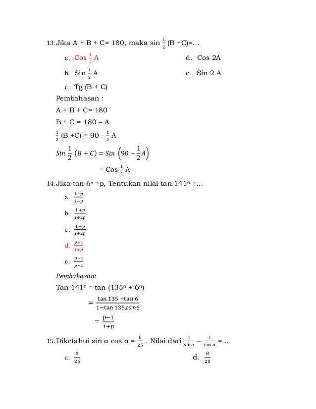 Latihan Soal Trigonometri Kelas Xi