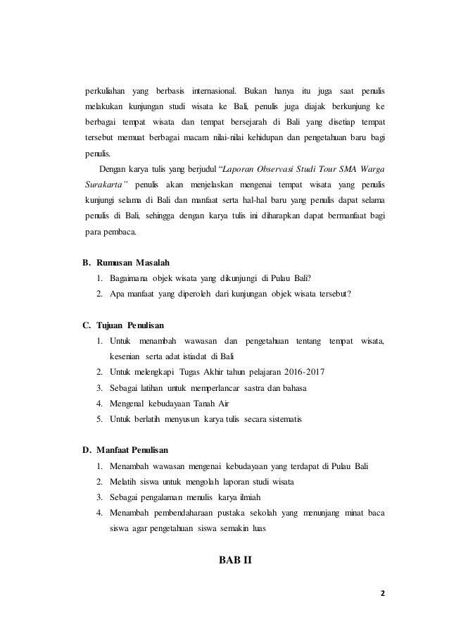 Contoh Laporan Study Tour Ke Bali 2019 Barisan Contoh