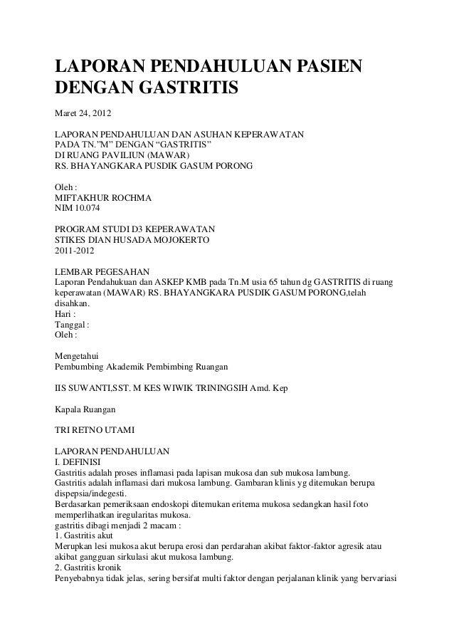 """LAPORAN PENDAHULUAN PASIEN DENGAN GASTRITIS Maret 24, 2012 LAPORAN PENDAHULUAN DAN ASUHAN KEPERAWATAN PADA TN.""""M"""" DENGAN """"..."""