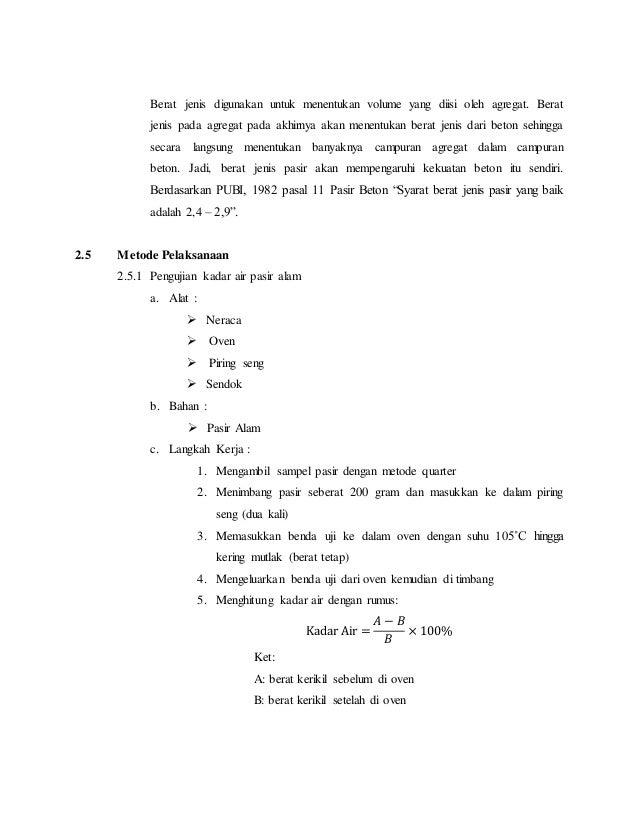 praktikum bahan bangunan 1 laporan pengujian tanpa bahan tambah 14 638 - Berat Jenis Beton Knm3