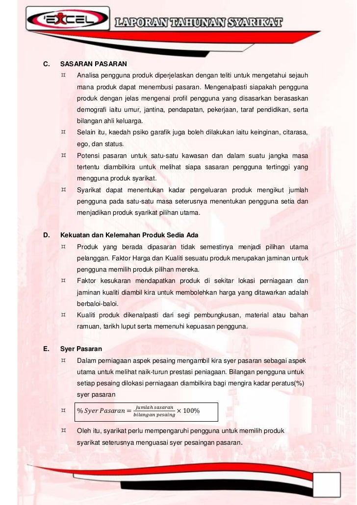 """8.7    Strategi PemasaranSyarikat I""""ExCeL Sdn. Bhd. sentiasa berusaha bagi menghasilkan suatu produk, barangandan perkhidm..."""