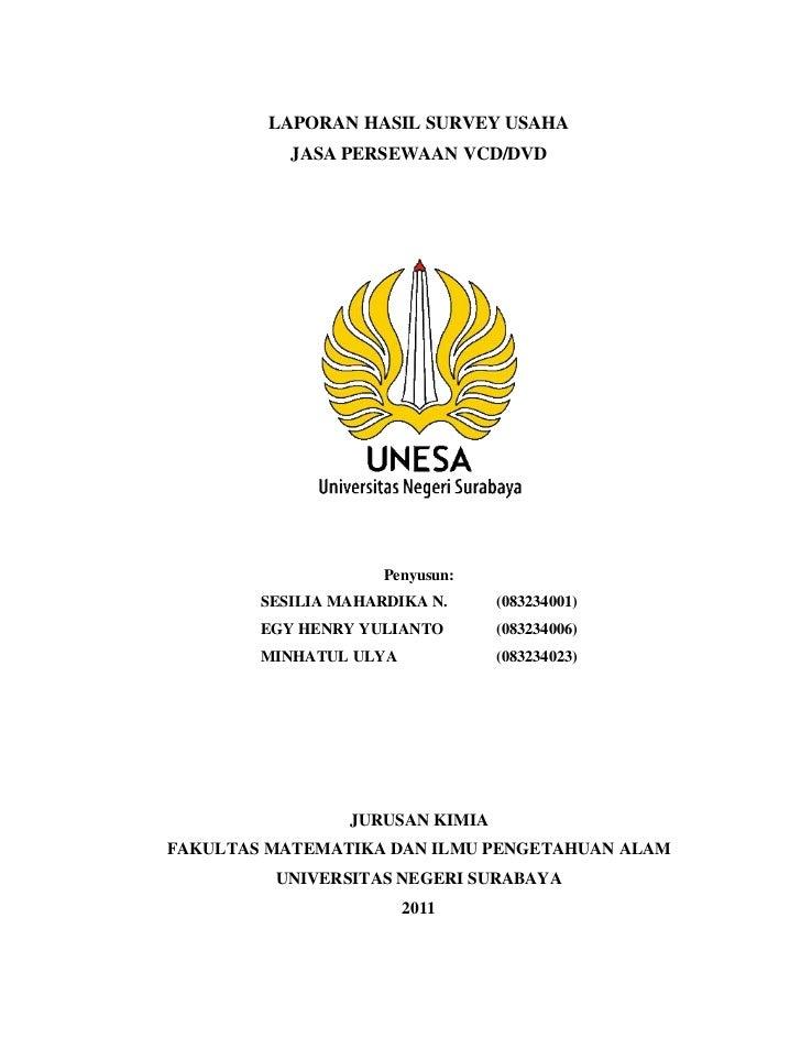 LAPORAN HASIL SURVEY USAHA           JASA PERSEWAAN VCD/DVD                     Penyusun:        SESILIA MAHARDIKA N.     ...