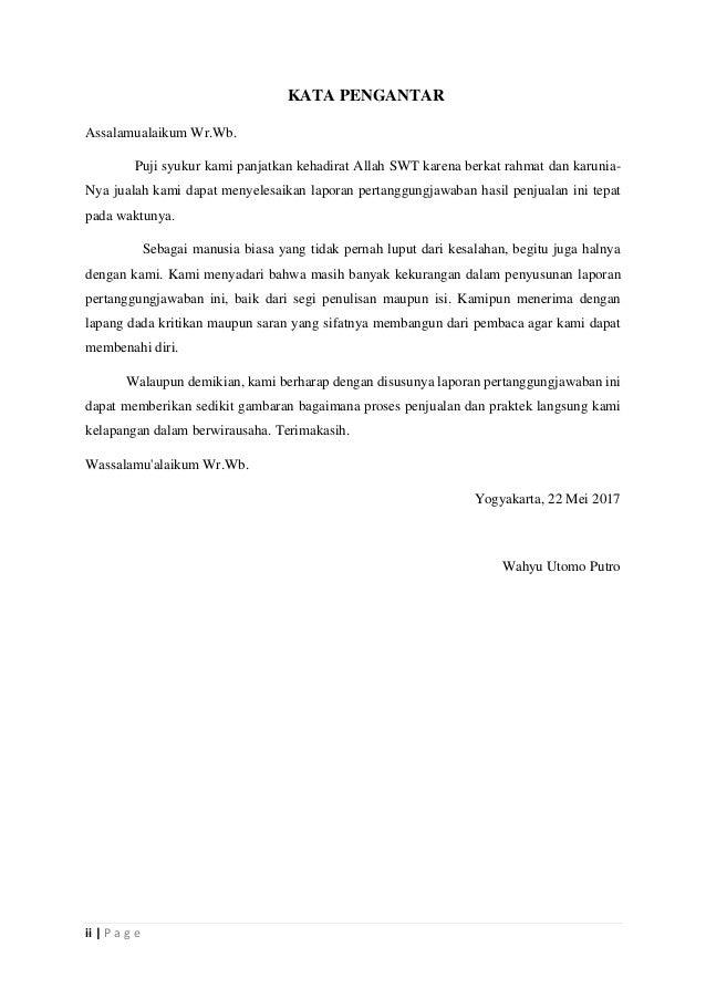 Laporan Pertanggungjawaban Penjualan Seblak Mata Kuliah Wirausaha