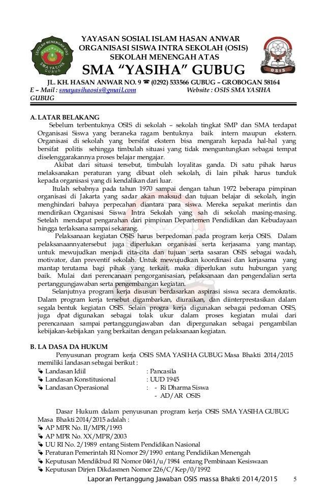 Contoh Laporan Pertanggungjawaban Kegiatan Osis Sma Kumpulan Contoh Laporan