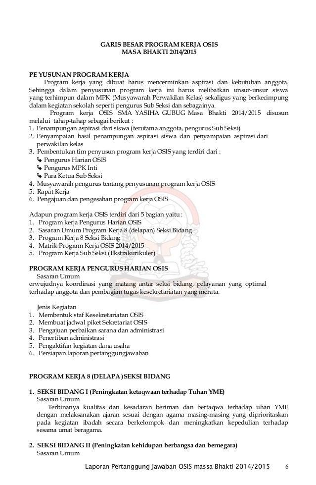 Laporan Pertanggung Jawaban Osis 2014 2015