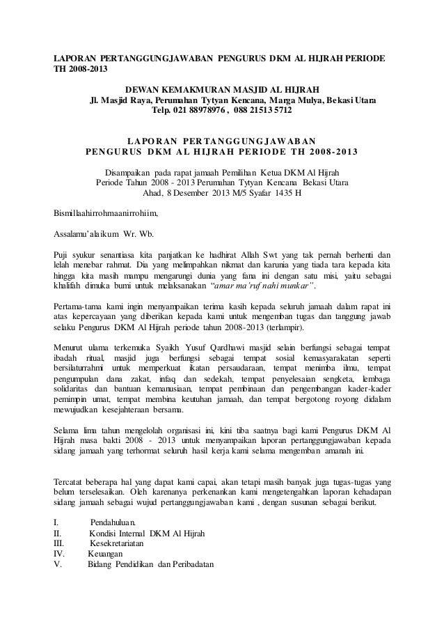 Laporan Pertanggungjawaban Pengurus Dkm Al Hijrah Periode Th 2008