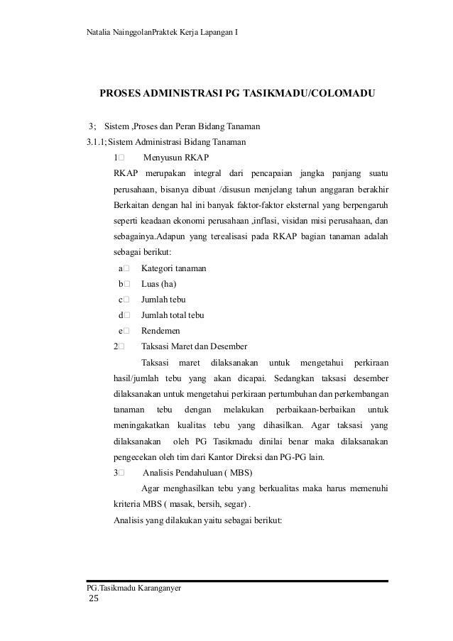 laporan pkl i pengenalan administrasi di pg tasikmadu karanganyar