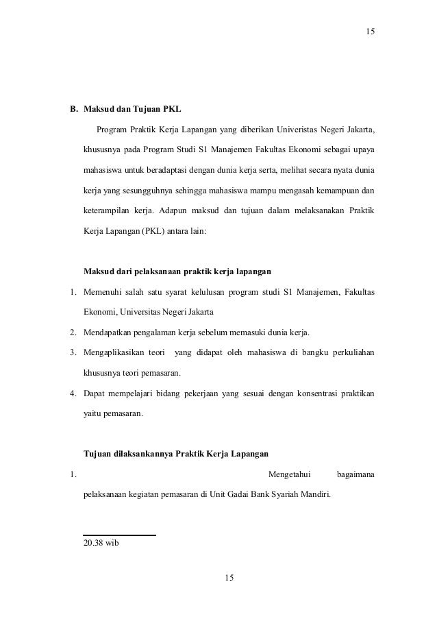 Contoh Laporan Praktik Kerja Lapangan Manajemen Fakeltas Ekonomi Univ