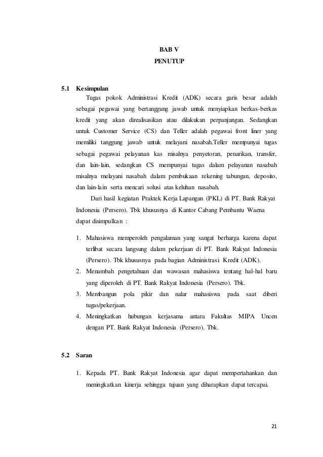 Contoh Laporan Pkl Di Bank Download Contoh Lengkap Gratis