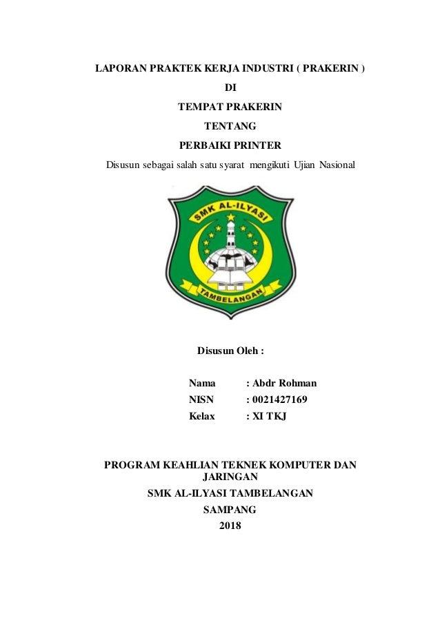 Laporan Prakerin Printer Smk Al Ilyasi Tambelangan Sanpang