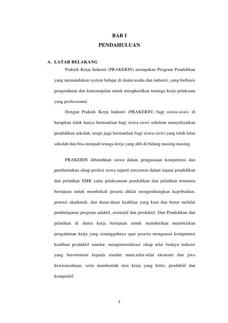 Laporan Prakerin Smk Pariwisata Baitul Hamdi Bela Kartini