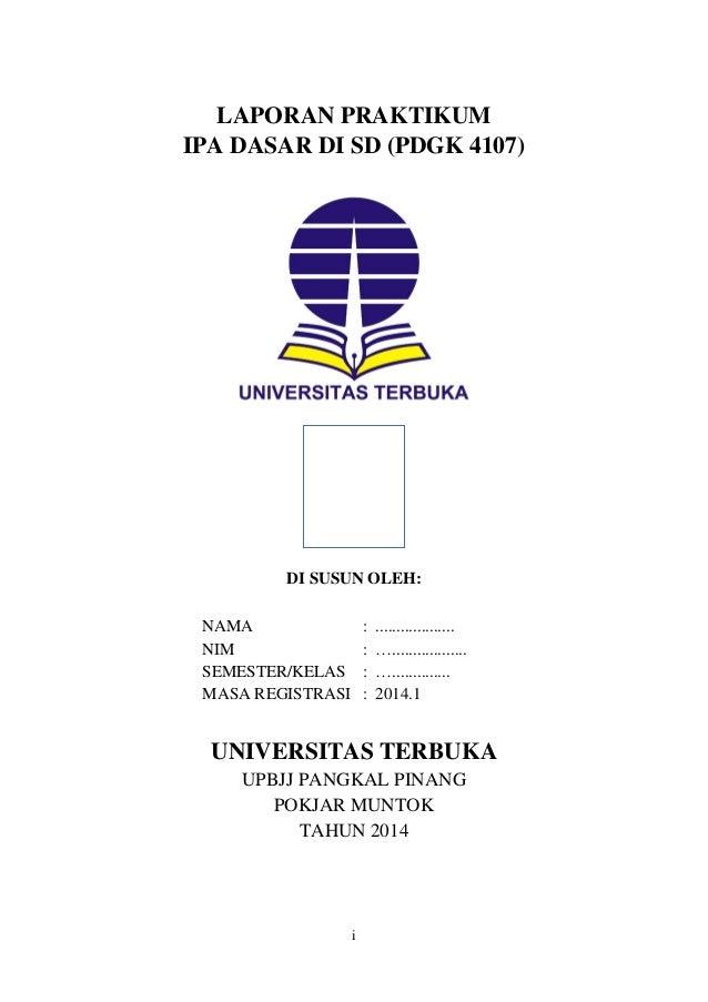 Laporan Praktek Ipa Fisika Ut Pgsd Praktikum Ipa Di Sd Pdgk4107