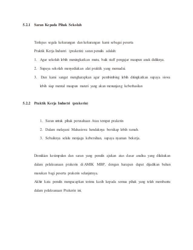 Contoh Laporan Praktek Kerja Industri Jurusan Tkj