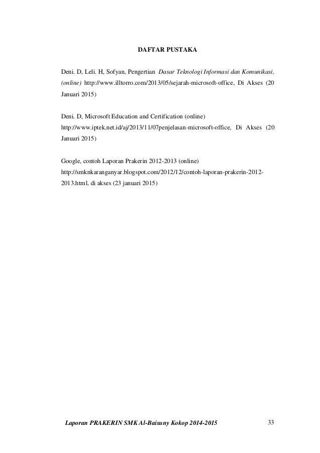 Contoh Laporan Prkatek Kerja Industri Prakerin Smk Tkj Download Lengkap