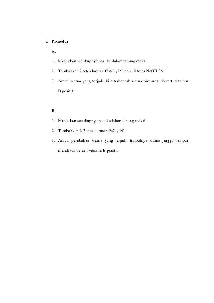 Laporan Praktikum Biokimia Ii Vitamin B