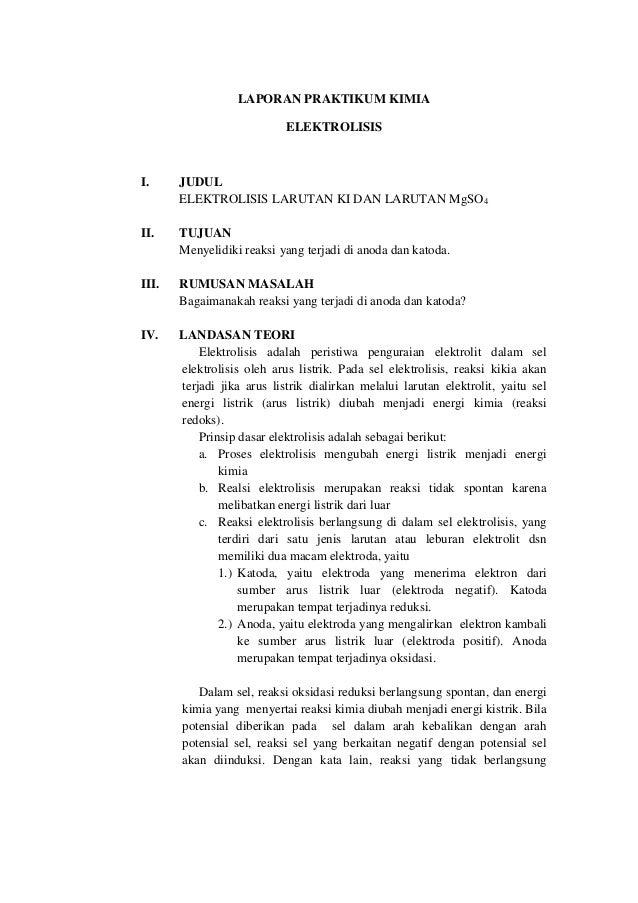 Laporan Praktikum Kimia Elektrolisis