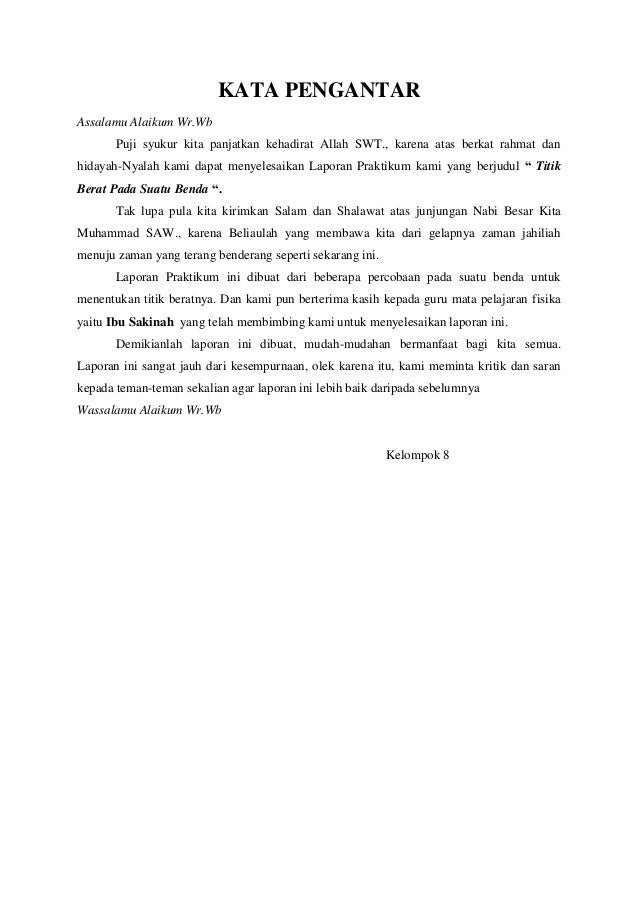 Contoh Kata Pengantar Laporan Praktikum Contoh Soal Dan Materi Pelajaran 1
