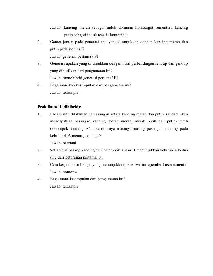 Contoh Laporan Praktikum Hukum Mendel Laporan 7