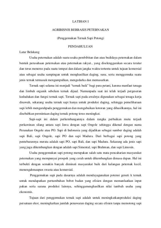 LATIHAN IAGRIBISNIS BERBASIS PETERNAKAN(Penggemukan Ternak Sapi Potong)PENDAHULUANLatar BelakangUsaha peternakan adalah su...