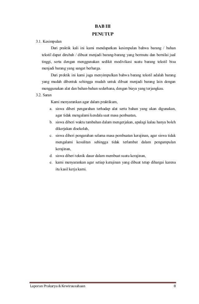 Contoh Kesimpulan Laporan Prakarya
