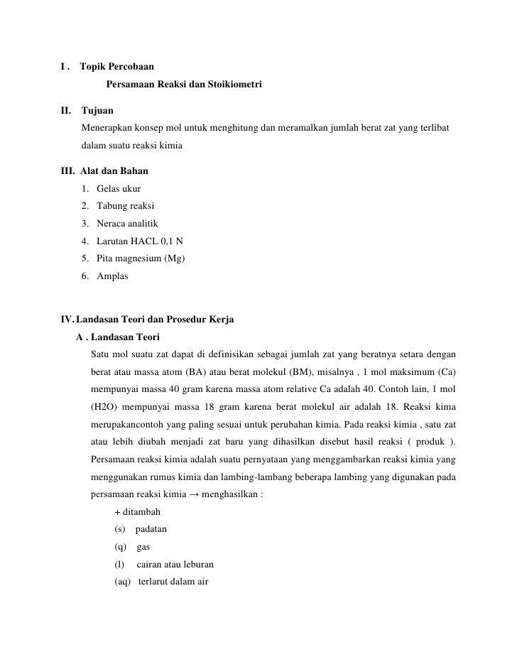 Laporan Praktikum Kimdas Persamaan Reaksi Dan Stoikiometri