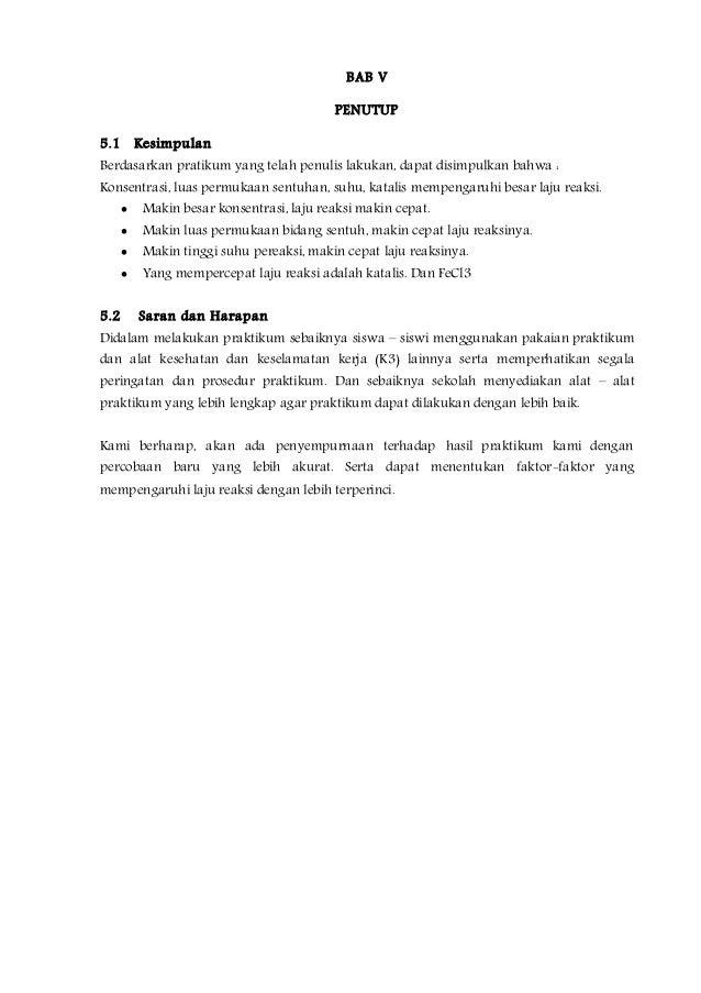 Contoh Laporan Praktikum Kimia Faktor Faktor Yang Mempengaruhi Laju Reaksi