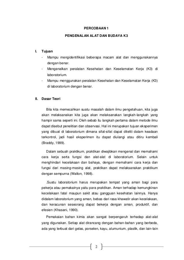 Laporan Praktikum Kimia Dasar Pengenalan Alat Dan Budaya K3