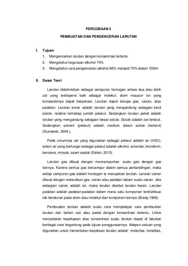 Laporan Praktikum Kimia Dasar Pembuatan Dan Pengenceran Larutan