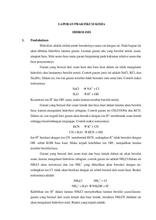 Laporan Praktikum Kimia Hidrolisis
