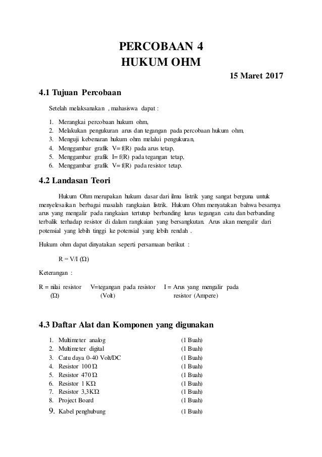 Laporan Praktikum Rangkaian Listrik Hukum Ohm