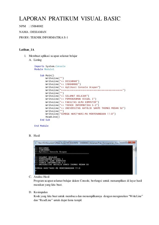 Laporan Pratikum 1 Semester Listing Program Pratikum Visual Basic 2