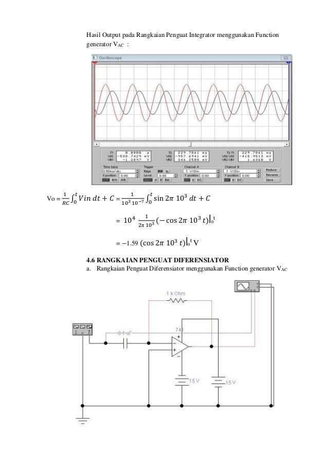Laporan rangkaian dasar op amp rangkaian penguat integrator menggunakan function generator vac 13 ccuart Choice Image