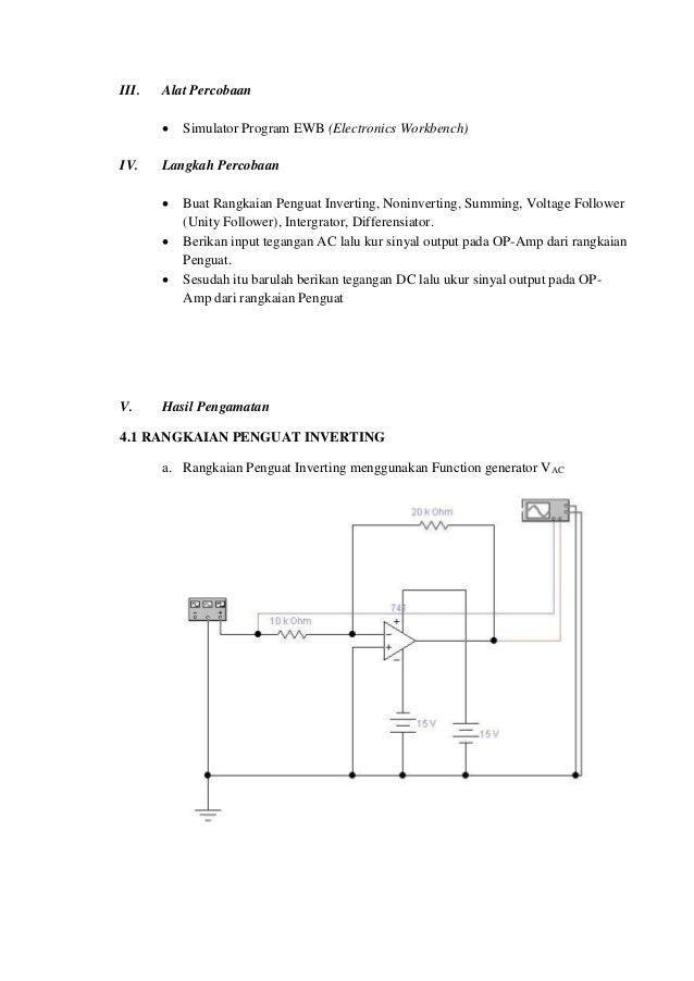 Laporan rangkaian dasar op amp rangkaian op amp diferensiator 5 ccuart Choice Image