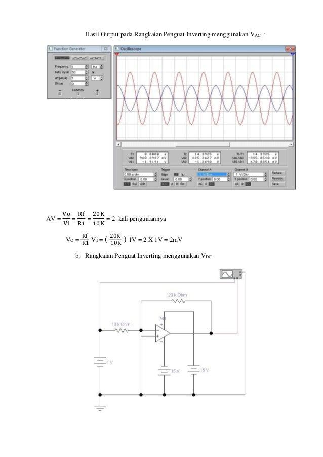 Laporan rangkaian dasar op amp rangkaian penguat inverting menggunakan function generator vac 6 ccuart Choice Image