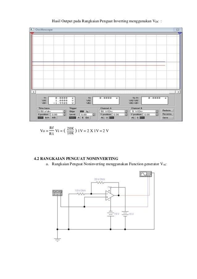 Laporan rangkaian dasar op amp rangkaian penguat inverting menggunakan vdc 7 ccuart Choice Image